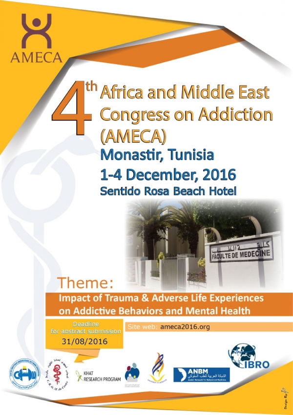 AFRICA AND MIDDLE EAST CONGRESS ON ADDICTION, Monastir, Tunisia, December 2016