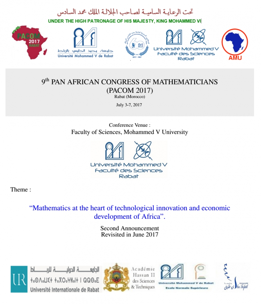 9th PAN AFRICAN CONGRESS OF MATHEMATICIANS (PACOM 2017)