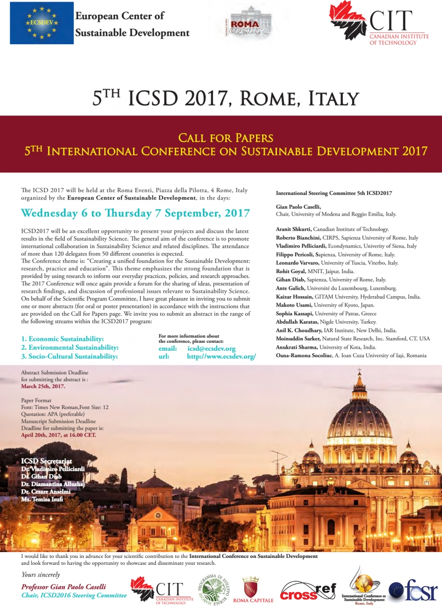 ICSD 2017 Conference, Rome, Italy